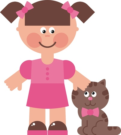 baby doll: girl cat illustration, little girl walking with her cat