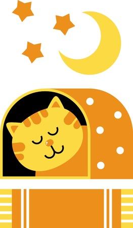sleeps: cat dream illustration, home for the cat, cat sleeps