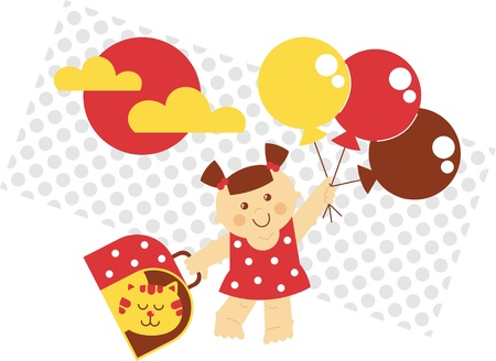 cat carrier: girl fly illustration, small girl flying on balloons