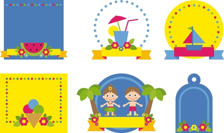 summer collection stickers and tags  for scrapbook Vector