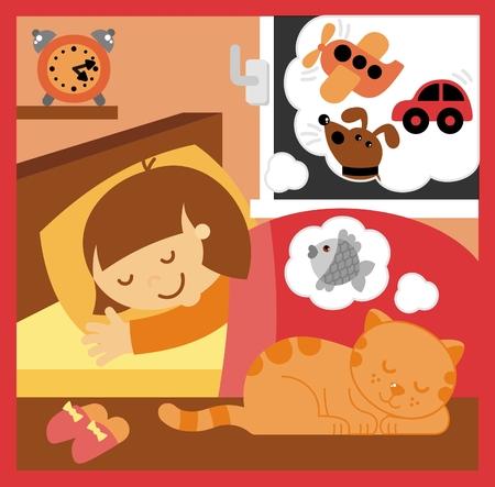 sleeping room: little girl sleeping in the room Illustration