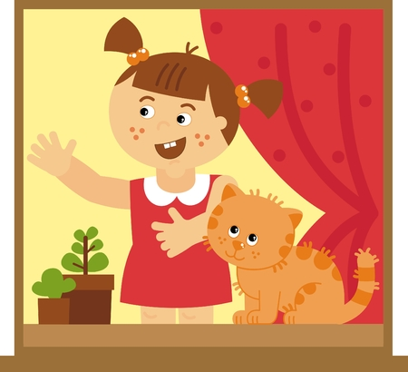 little girl with a cat, vector illustration Vector