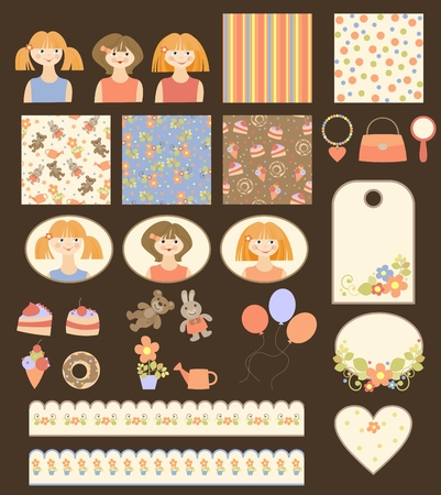 collection of many cute scrapbook elements for girls Vector