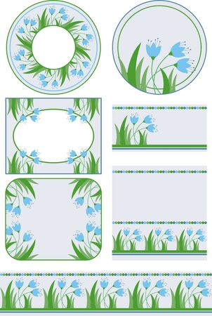 set of flower graphic elements for your design Vector
