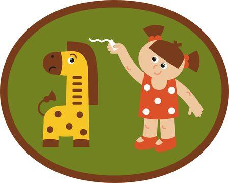 giraffe metr - vector illustration, animal giraffe lives in a zoo