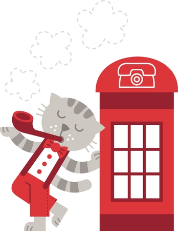 telephone booth: london - vector illustration, cat smokes near a telephone booth Illustration