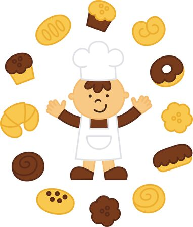 little chef: little chef baked muffins in the bakery Illustration