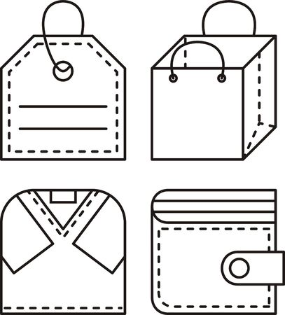 shop - vector illustration, set icons for clothing store Illusztráció