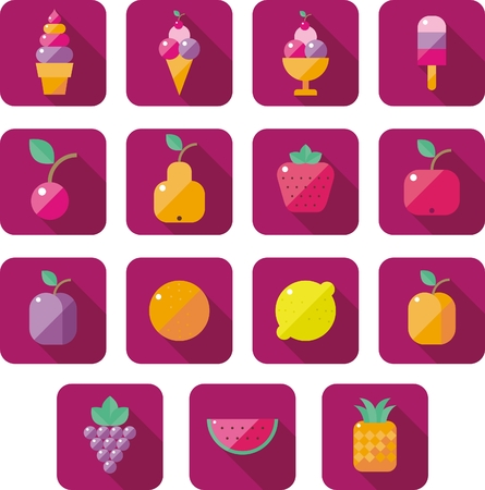 vanilla pudding: set of flat icons with sweet pastries