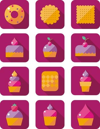 vanilla pudding: conjunto de iconos planos con pasteles dulces