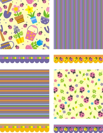 set of floral backgrounds and borders Vector