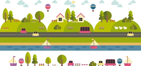 country road: cartoon illustration with rural landscape Illustration