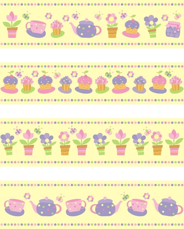set of borders with flowers, cakes and tea utensils Vector