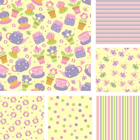 set of seamless backgrounds with flowers and tea utensils Vector