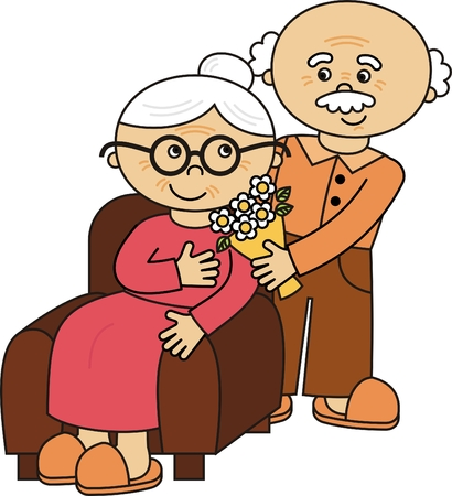 happy old age: vector old lady and old man Illustration