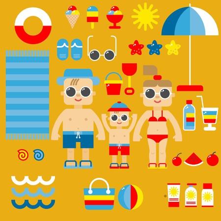 enfant maillot de bain: Collection d'icônes d'été dans un vecteur de conception plate. Illustration