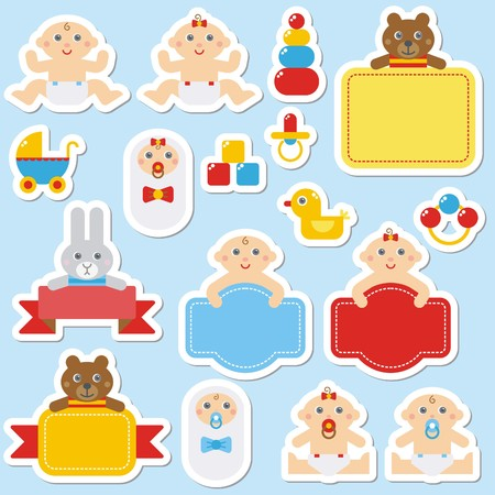Collection of colorful babys stickers Illustration