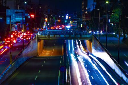 A night city street at the downtown in Setagaya Tokyo 写真素材