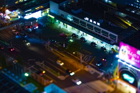 A night panoramic view at the urban city in Tokyo high angle tilt shift