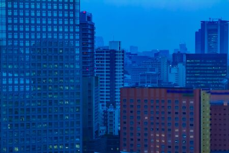 A dawn urban cityscape in Tokyo high angle long shot 版權商用圖片
