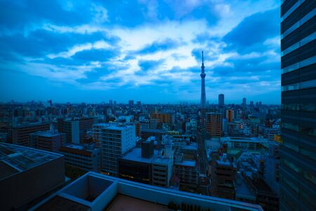 A dawn at the urban city street in Tokyo high angle wide shot 版權商用圖片