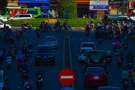 A traffic jam at the busy town in Ho Chi Minh long shot Stock Photo