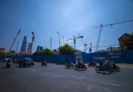 Crane at the under construction in Ho Chi Minh Vietnam wide shot