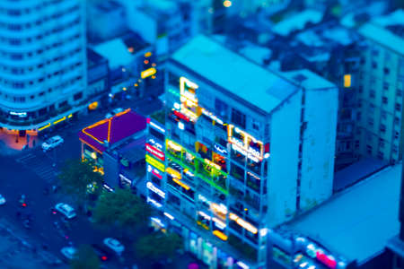 A dusk miniature apartment in Ho Chi Minh high angle titlshift