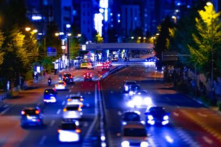 A night miniature urban city street near Tokyo tower in Tokyo