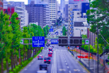 A miniature cityscape at the urban street in Tokyo tiltshift