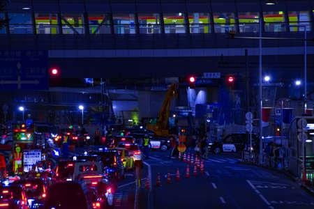 A night urban city street in Shibuya Tokyo long shot Banque d'images - 157174083
