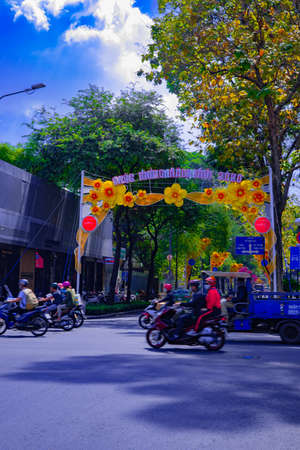 A traffic jam at the busy town in Ho Chi Minh wide shot Banque d'images - 157810182