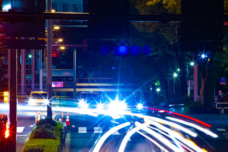 A night urban city street in Shinjuku long shot