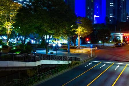 A night urban city street in Shinjuku middle shot