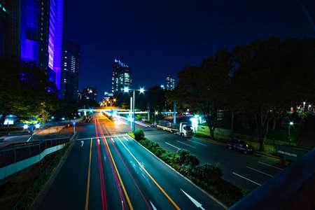 A night urban city street near Tokyo Metropolitan Government in Shinjuku wide Banque d'images - 158111508