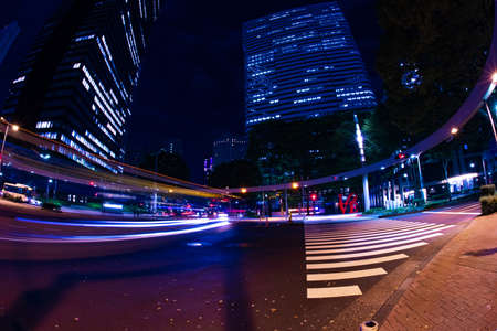 A night urban city street in Shinjuku wide shot Banque d'images - 158111101