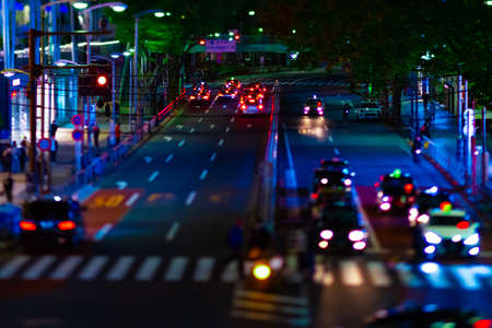A night miniature neon street in Shibuya tiltshift Banque d'images - 158612818
