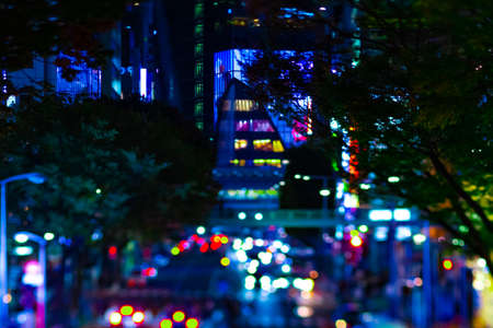 A night miniature neon street in Shibuya tiltshift Banque d'images - 158611786