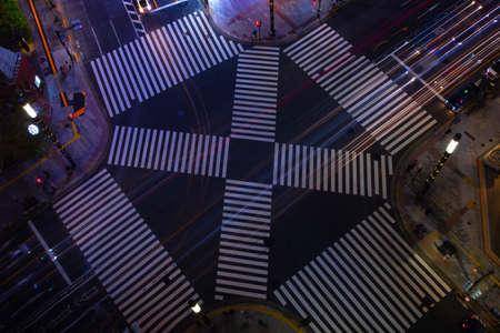 A night Sukiyabashi crossing in Ginza high angle Banque d'images