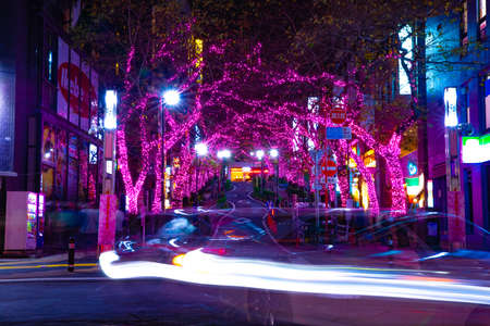 A night illuminated street in Shibuya middle shot Banque d'images