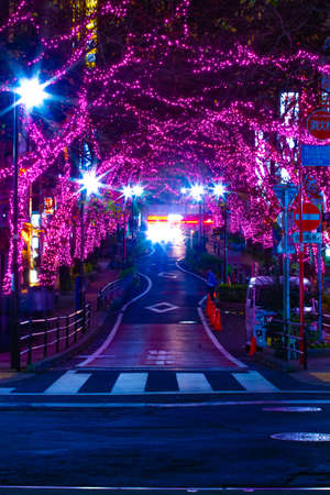 A night illuminated street in Shibuya wide shot Standard-Bild