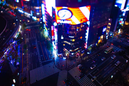 A night miniature crossing in Ginza tiltshift wide shot Standard-Bild