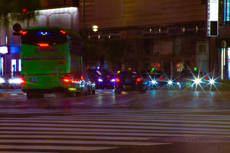 A night traffic jam at the crossing in Ginza long shot