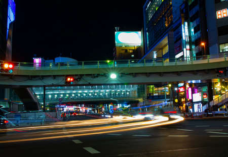 A crossing at the neon town in Shibuya at night wide shot Standard-Bild