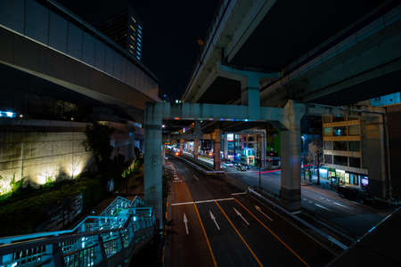 A night traffic on the urban street in Ikejiriohashi wide shot