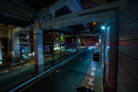 A night traffic on the urban street in Ikejiriohashi wide shot