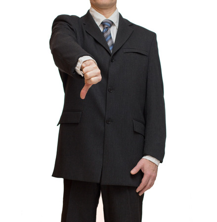 censure: Concept of  businessman showing thumbs down