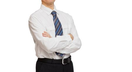 mani incrociate: businessman hands crossed in a white shirt