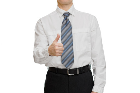 posing  agree: Concept Businessman in white shirt and a tie showing thumb up