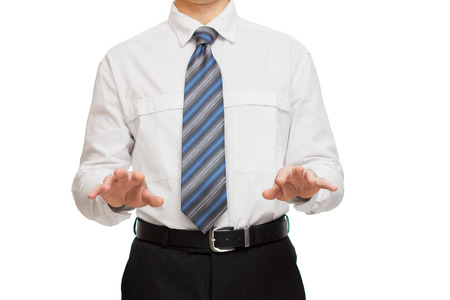 businessman in white shirt with different hand gestures photo